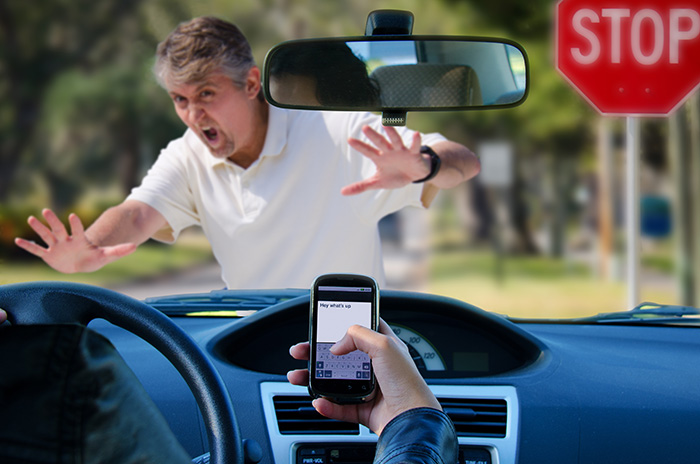 Teenager texting and driving car hitting pedestrian and car crash